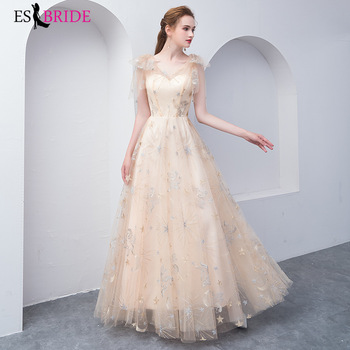 ES2722 evening dresses long  2019 V Neck formal dress evening party champagne dresses evening gowns for woman robe de soiree