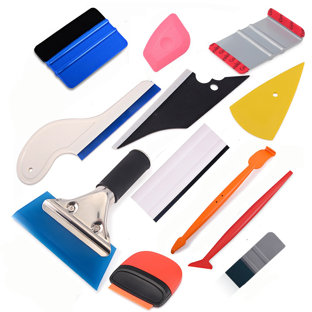 FOSHIO Carbon Fiber Car Tools Vinyl Wrap Film Sticker Wrapping Tool Auto Window Tint Foil Magnetic Stick Squeegee Razor Scraper
