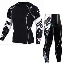 Taktik MMA kıyafetleri uzun kollu erkek spor sıkıştırma giyim eşofman erkek T shirt tayt koşu elbisesi spor takım elbise