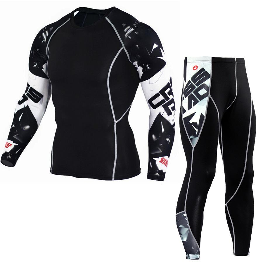 Tactical Mma Rash Guard Long Sleeves Men's Fitness Compression Clothing Tracksuit Men T-shirt Leggings Jogging Suit Sport Suit