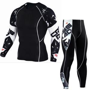 Image 1 - tactical mma rash guard long sleeves Mens fitness compression clothing tracksuit Men T shirt leggings Jogging suit Sport suit