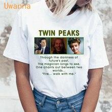 Twin Peaks printed harajuku t shirt women summer short sleeve casual white tops