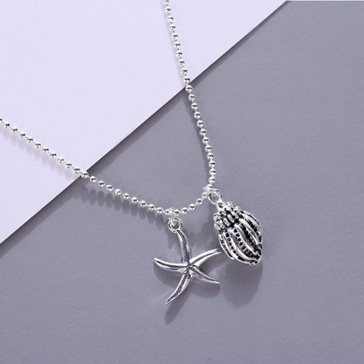 New 925 Sterling Silver Necklace Women Star Conch Shape Pendant Choker Personalized Fashion Charm Beads Chain Gift Friend Birth