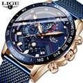 LIGE модные новые мужские s часы брендовые Роскошные наручные кварцевые часы синие часы мужские водонепроницаемые спортивные хронограф Relogio ...