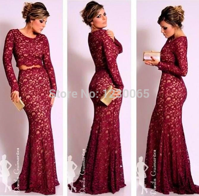 Elegant Floor Length Two Pieces Prom Long Sleeves Mermaid Formal Evening Gowns Vestido De Festa Longo mother of the bride dress