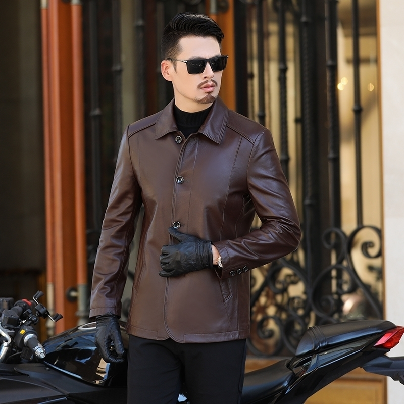 Plus Size 8xl 7xl Business Casual Spring And Autumn Fashion Genuine Leather Coats Men Casual Coat Mens Genuine Leather Jacket