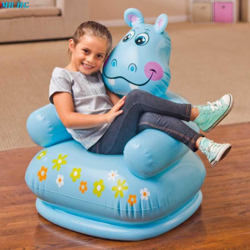 Kartun Hewan Inflatable Sofa Lucu Portabel Anak-anak Kursi Tiger Beruang untuk Anak 3-8 Tahun Anak-anak Yang Indah PVC kursi Kursi Bayi