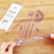 4 Pcs/set New Straight Ruler Protractor Students Math Geometry Soft Bendable Plastic Ruler Set School Stationery Supplies