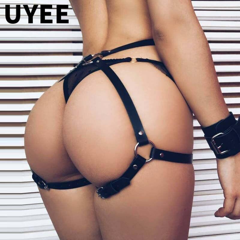UYEE бондаж женские чулки с подвязками пряжки ремня Готический тело сексуальное женское белье Seks кожи, длина от талии до ног упряжка Бедро поя...