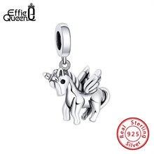 Женский кулон из серебра 100% пробы с единорогом лошадью