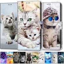Fajne zwierzęta etui do Samsung Galaxy A12 klapki skórzane etui na A 12 A125 SM-A125F portfel pokrywa lew niedźwiedź wilk koty psy Capa