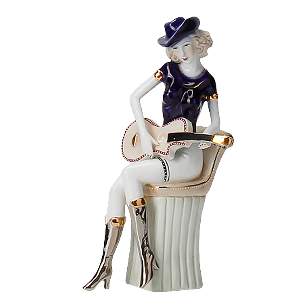1pc Ceramic Crafts Guitar Girl Statue Sculpture European Instruments Woman Figurines Creative Table Ornament For Home Decor Aesthetic Appearance
