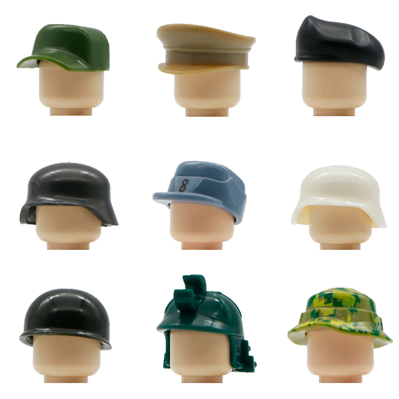 Military Building Blocks German WW2 SWAT UK Soldiers Figure Accessory Army Beret MOC Knight Helmet Cap Hat Legoed Military Toys