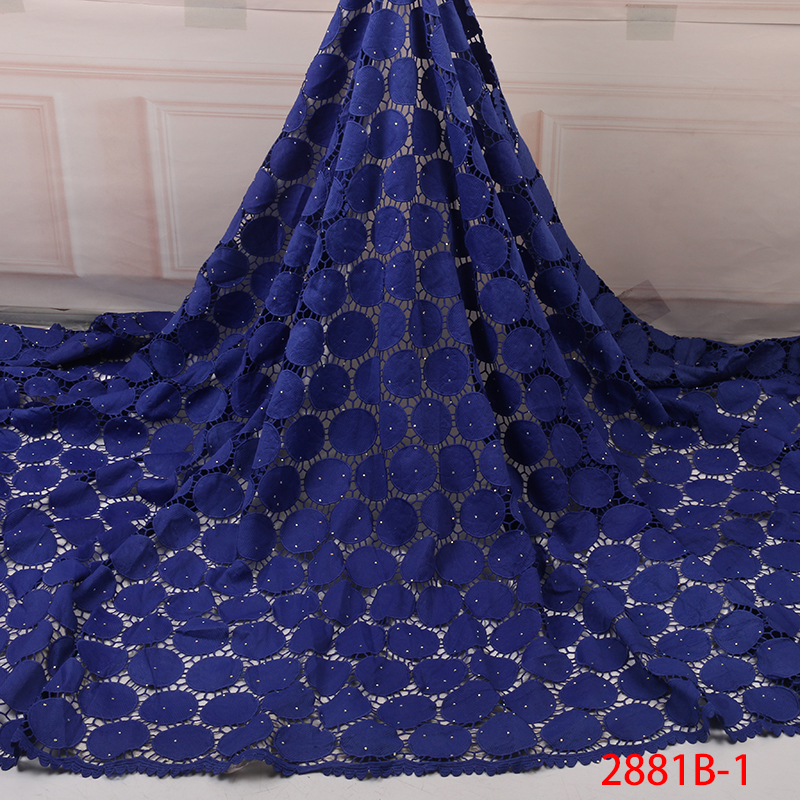 2019 African Lace Embroidered High Quality Milk Cord Lace Fabric With Stones High Quality Wedding African Lace Fabric YA2881B-1