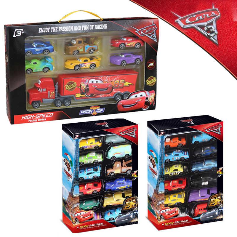 12pcs Set Disney Pixar Cars 2 3 Gift Set Lightning Mcqueen King Jackson Ramirez Mater Diecast Mini Cars Model Toys