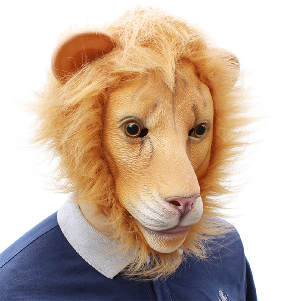 Animal Lion Cosplay Mask Lion Halloween Latex Animal Head Mask for Costume Party Birthday Party Supplies in Party Masks from Home Garden