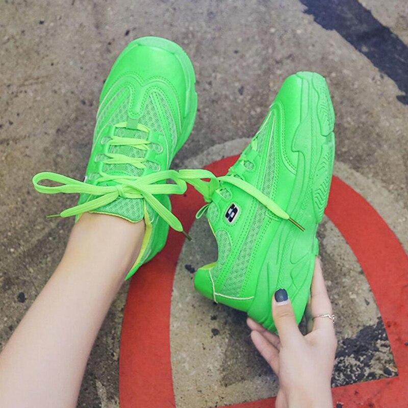 Женские сетчатые неоново зеленые и желтые кроссовки на платформе для женщин, Студенческая дышащая спортивная обувь, танцевальные туфли в стиле хип хоп, Zapatillas Mujer|Кроссовки и кеды| | АлиЭкспресс