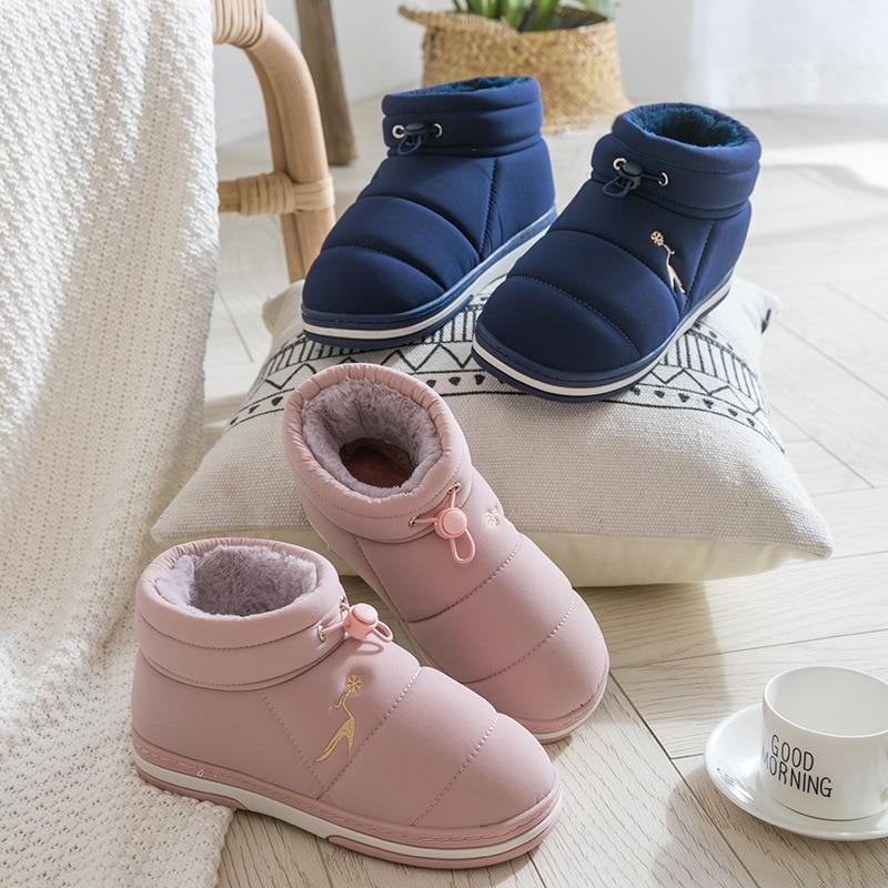 Ankle boots mulher sapatos de pelúcia inverno quente neve plataforma botas senhoras indoor causal unisex botas femininas 2019 mais tamanho