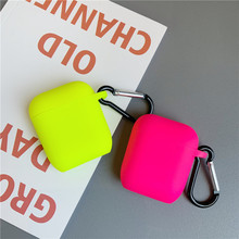 ניאון צבע עבור אפל Airpods 2/1 מקרה מוצק צבע Bluetooth אוזניות כיסוי עבור Airpods פרו אוזניות תיבת סיליקון Funda