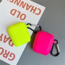 Fluorescencyjny kolor dla Apple Airpods 2/1 Case jednolity kolor Bluetooth słuchawki pokrywa dla Airpods Pro słuchawki Box silikonowe Funda