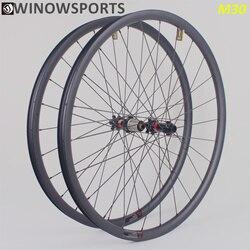2020 Winowsports haute rigidité 29er vtt carbone roue 30mm de large sans crochet et tubeless prêt jante 29 pouces D411/D412 novatec roue