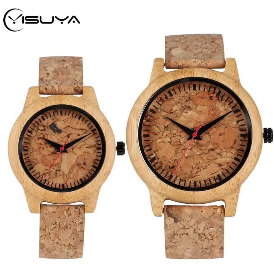 YISUYA New Fashion Cork Slag Dial Wood Watches Quartz Watch Ladies Dress Original Bamboo Wooden Male Clock Gifts For Men Women