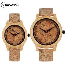 YISUYA New Fashion Cork Slag Dial Wood Watches Quartz Watch