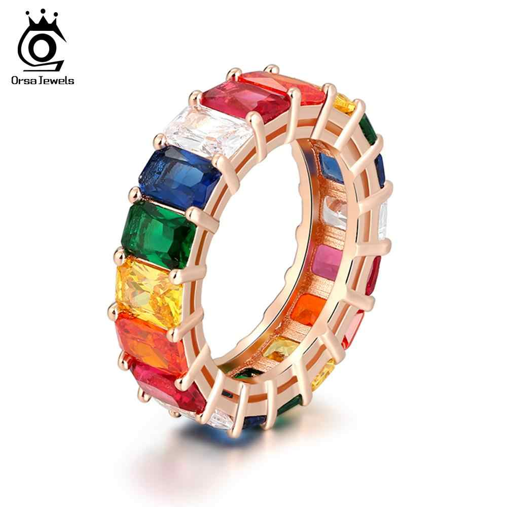 ORSA JEWELS Rainbow Colorful Rings Eternity For Women Classic Wedding & Engagement Band Handmade Female Fashion Jewelry OR146-M