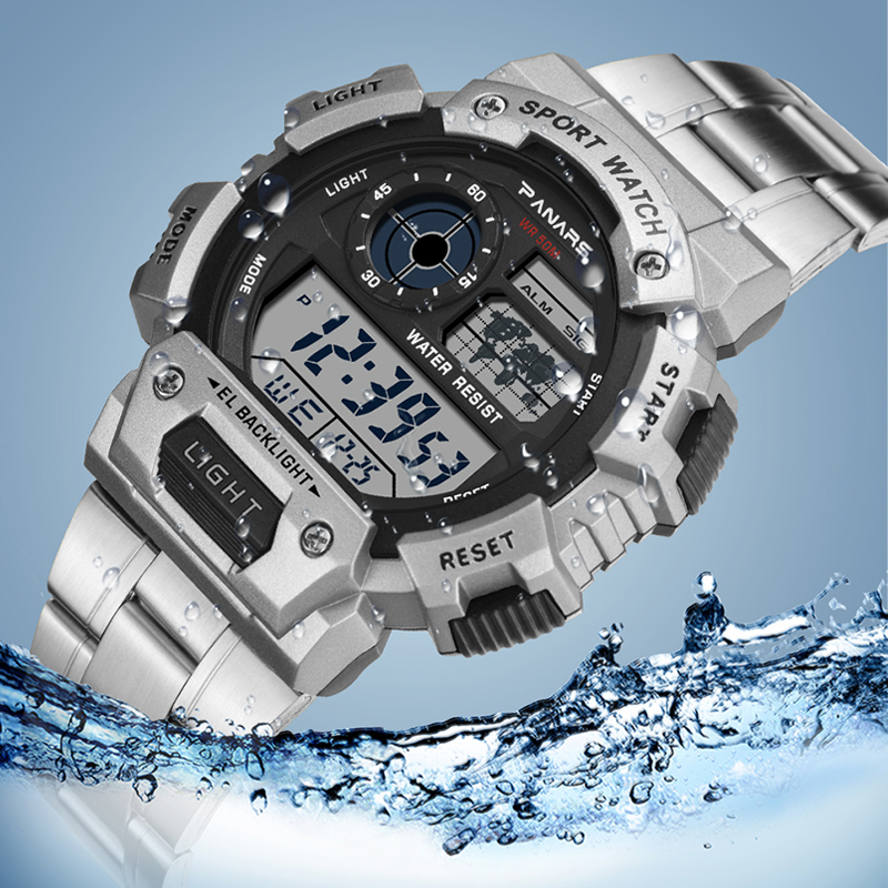 SYNOKE Stainless Steel Military Sport Watches 2019 New Electronic Men Watches Luxury Male Clock Waterproof LED Digital Watch