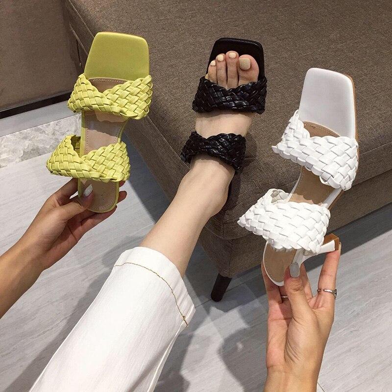 Été femmes pompes élégant bout carré talons hauts dames chaussures de plein air Design de mode talons hauts Mules femmes chaussures de mode sandale