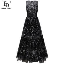 LD LINDA DELLA Fashion Runway Summer Sexy party Dress donna senza maniche lusso pizzo maglia ricamo cintura elegante abito lungo nero