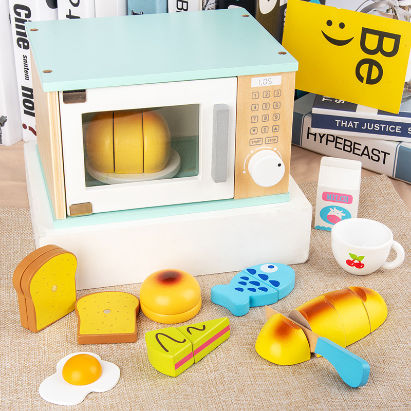 Children Play House Large Simulation Microwave Kitchen Utensils Play House Kitchen Toys Dollhouse Furniture Baby Gifts