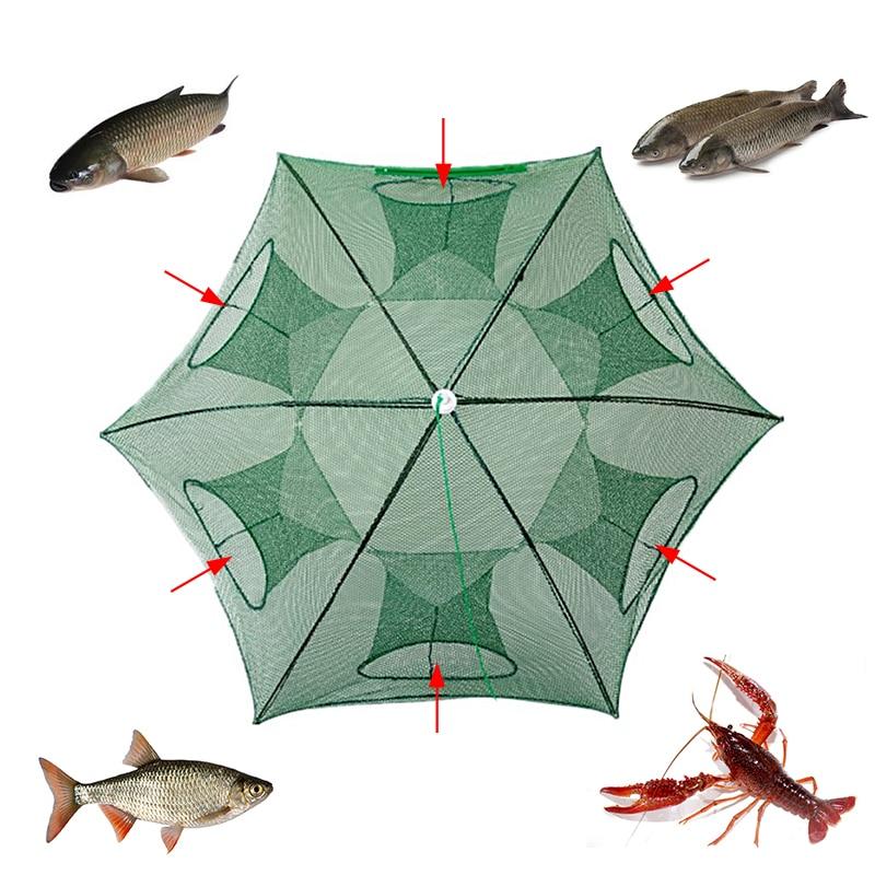 Güçlendirilmiş balık ağı otomatik katlanabilir döküm ağı karides daldırma kafes tuzak kerevit Net tankı örgü çanta balıkçılık araçları
