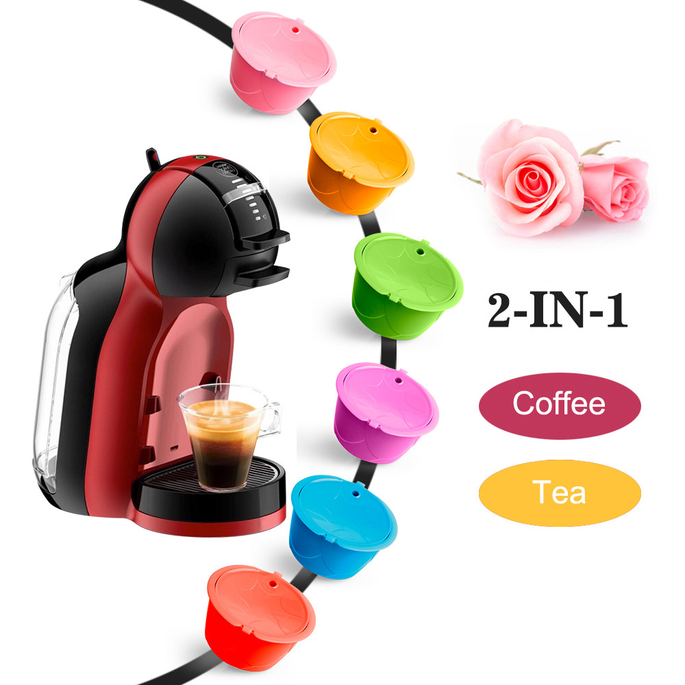 3/6 Pcs New Design Reusable Rose Colorful For Dolce Gusto Coffee Capsule Dolci Nescafe Machine Refilable Valentine's Day Gift