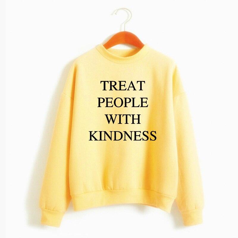 Cute  Warm Pullover Hoodie Female Jumper Long Sleeve Autumn Winter  Harry Styles Treat People With Kindness Women'S Sweatshirt