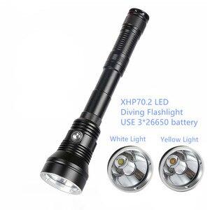 Мощный желтый/белый светильник XHP70.2, водонепроницаемый фонарь для подводного плавания, 7000лм, подводный тактический фонарь, фонарь для дайви...