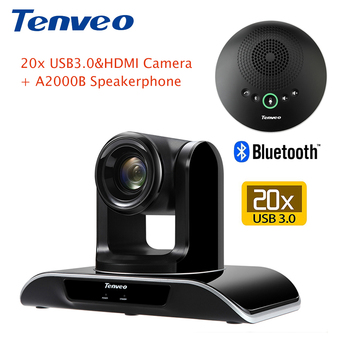 Tenveo HD 1080P PTZ video conference camera 20X zoom and USB3.0 & HDMI output with A2000B bluetooth Speakerphone and microphone