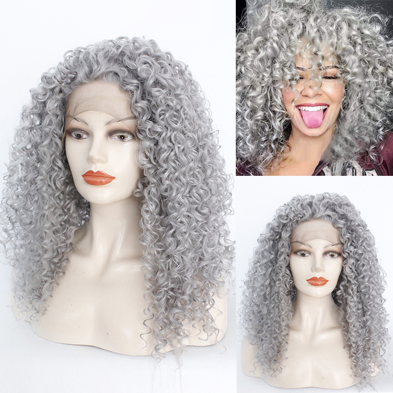 High Density Afro Kinky Curly Hair Silver Grey Synthetic Lace Front Wigs Natural Heat Resistant Fiber Women Hair Cosplay Wigs image