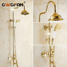 Free Shipping Wholesale And Retail Promotion Luxury Gold 8 Bathroom Rain Shower Set Faucet Bathtub Column Mixer Tap GY-8336