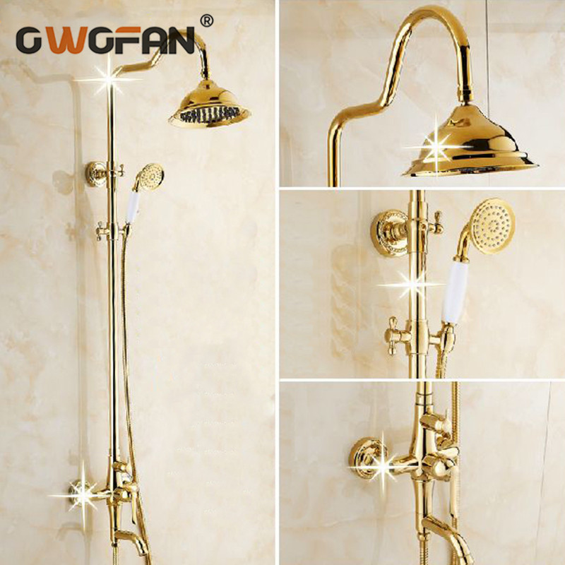 Modern Gold Bathroom Rainfall Shower Faucet Set Luxury Mixer Taps With Hand Shower Head Shower Sets Handshower System GY 8336