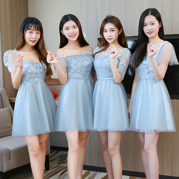 Blue Gray Tulle Junior Bridesmaid Dress For Wedding Party Boat Neck Short Party Dress Prom Club Elegant Vestidos Short Frocks