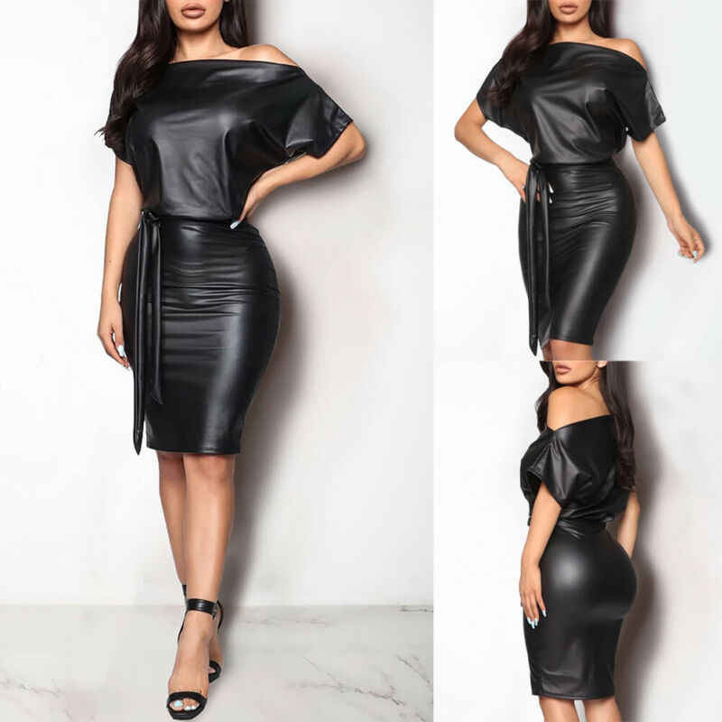Brand Nieuwe Vrouwen PU Leather Wet Look Bodycon Bandage Jurk Dames Vrouwelijke Off Shoulder Schede Party Club Mini Potlood Jurk