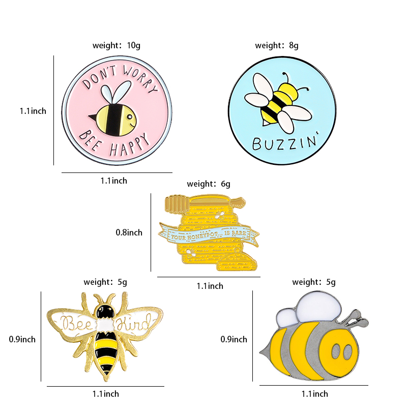 Bee Enamel Pin Custom homophonic Be Kind Save Bee Brooches Bag Clothes Lapel Pin Pink Blue Round Badge Honey Bee Jewelry Gift 2