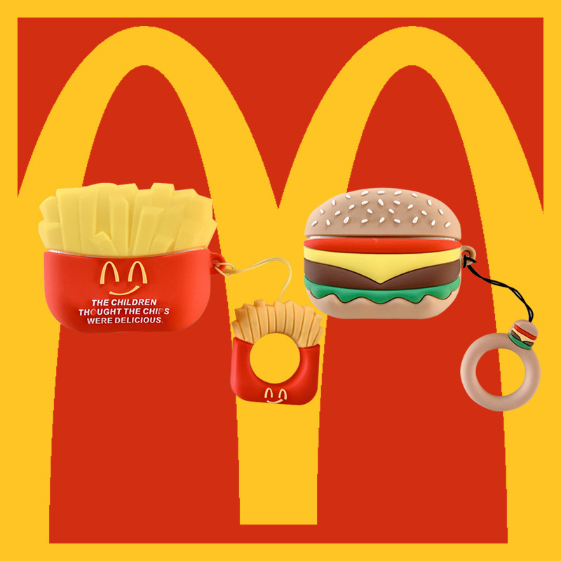 Cute McDonald's French Fries Burger Hamburger Headphone Cases For Apple Airpods Pro 3 Soft Silicone Protection Earphone Cover
