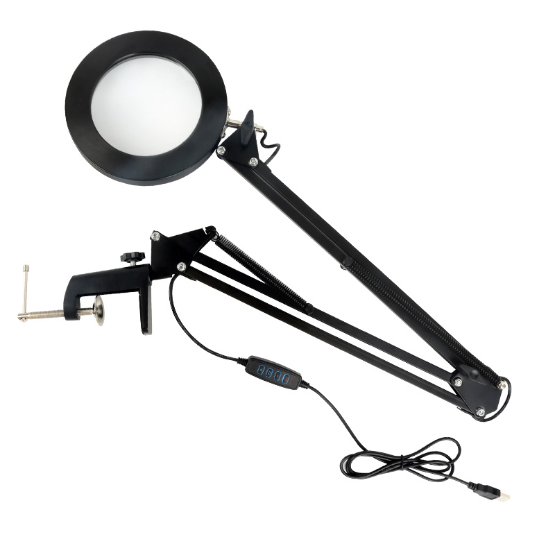 LED 5X Magnifying Glass Desk Lamp With Clamp Hands USB-Powered  Dimmable Table Light With 3 Modes For Live Makeup Or Repair