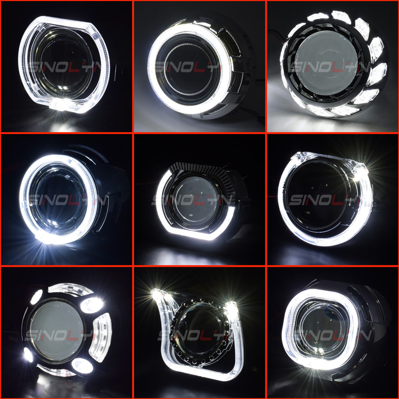 Sinolyn Projector Masks LED Angel Eyes Shrouds For Hella/Koito Q5 Lenses 2.5 & 3 Inches Bi Xenon Headlight Lenses DRL Bezels