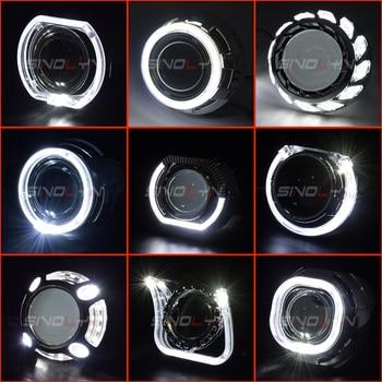 Sinolyn maski projektora LED Angel Eyes całuny dla obiektywów Hella/Koito Q5 2.5 i 3 cale Bi Xenon soczewki reflektorów DRL bezel