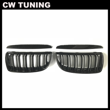 2 Color Pair Front Gloss Matt Carbon M Color Black 2 Line Double Slat Kidney Grille Grill For BMW E90 E91 4 Door 2005 06 07 2008 image