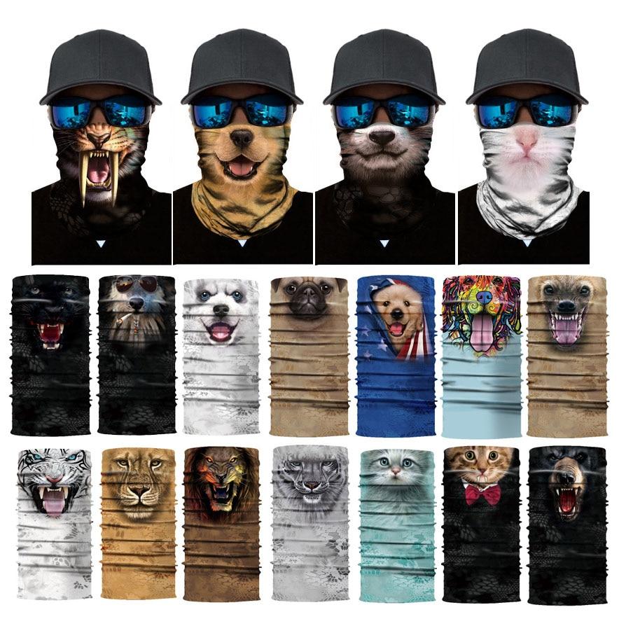 3D Cat Dog Seamless Magic Cycling Mask Neck Warmer Face Shield Tube Balaclava Fishing Ski Biker Bandana Headband Scarf Men Women