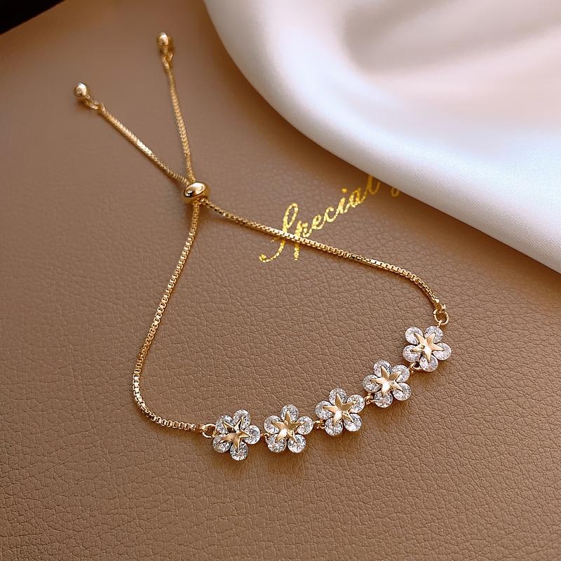 2020 Korean new design fashion jewelry high-end luxury flower zircon adjustable female prom party bracelet 2